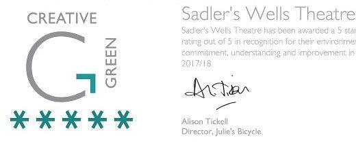 Sadler's Wells scores top rating for environmental best practice