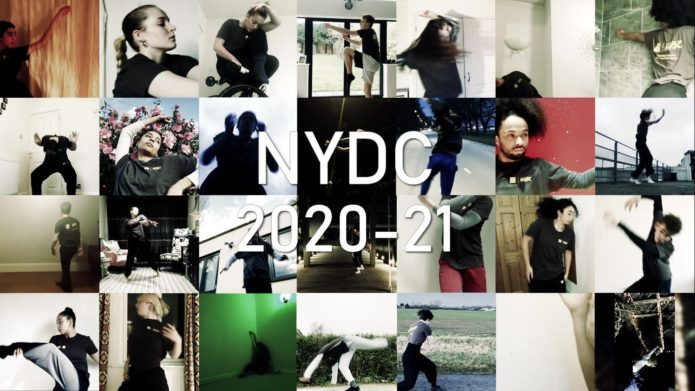 Image grid of NYDC dancers with heading 'NYDC 2020-21' in white.