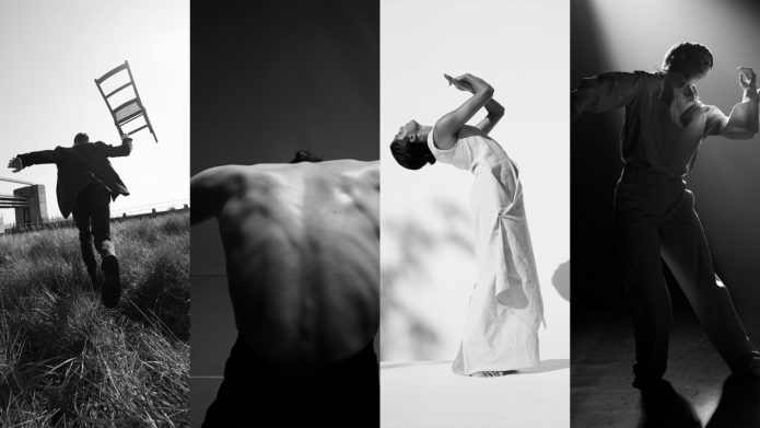 All four Young Associates in a landscape collage format in black and white. First dancer: running away from the camera in a field, holding a chair in right hand. Second dancer: facing away from camera with shirt off, hunched over, mid dance. Third dancer: standing in a white dress with a white background, mid dance. Fourth dancer: standing on stage in formal attire, mid dance.